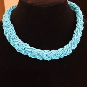 Braided Turquoise Beaded Choker Style Necklace